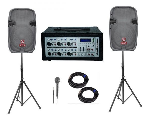 Kit Mezcladora Amplificada 6ch + Bafles Bocina 15 Audiobahn_1