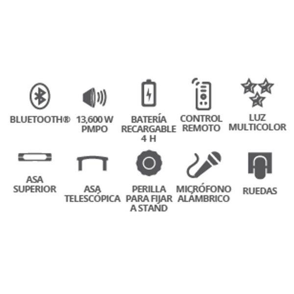 Bocina Recargable 12 Bluetooth Usb Fm Luz Mic Aux 6112_2