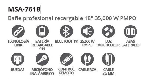 Bocina 18 Recargable Bluetooth Usb Fm Luz Aux Mic 7618_4
