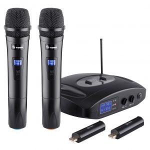 Par De Microfonos Inalambricos Uhf Recargables Steren 810_0