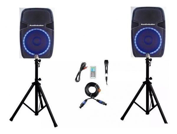 Par De Bafles Bocinas 15 Bluetooth Usb Mp3 Luz Audiobahn_0