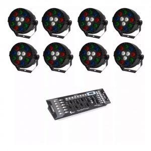 Kit 8 Luz De Leds Cañon Par64 Rgbw + Controlador Dmx 9070_0