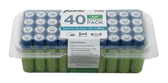 Kit De 40 Baterías Alcalina Aa Pilas 1.5v Mitzu 40_0