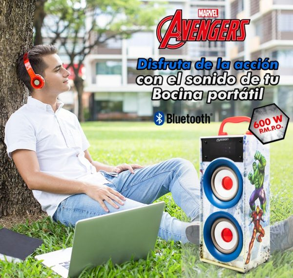 Bocina Recargable Bluetooth Usb Sd Mp3 Radio Fm Luz Avengers_3