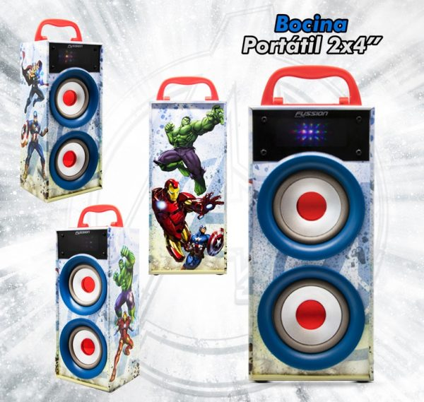 Bocina Recargable Bluetooth Usb Sd Mp3 Radio Fm Luz Avengers_4