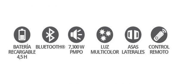 Bocina Recargable Bluetooth Usb Fm Luz 7300w Ksr 8016_3
