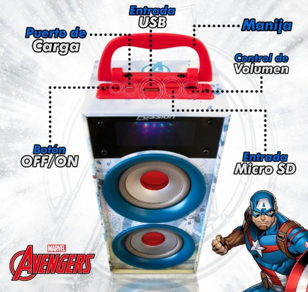 Bocina Recargable Bluetooth Usb Sd Mp3 Radio Fm Luz Avengers_1