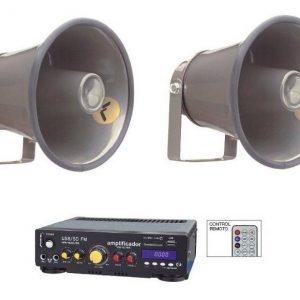 Kit Perifoneo Voceo Amplificador Usb Mas 2 Trompetas 620_0