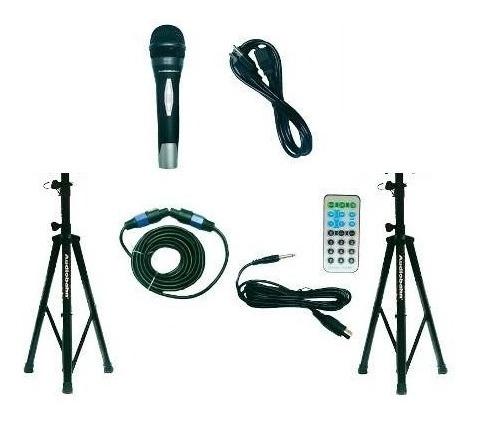 Par De Bafles Bocinas 15 Bluetooth Usb Mp3 Luz Audiobahn_3