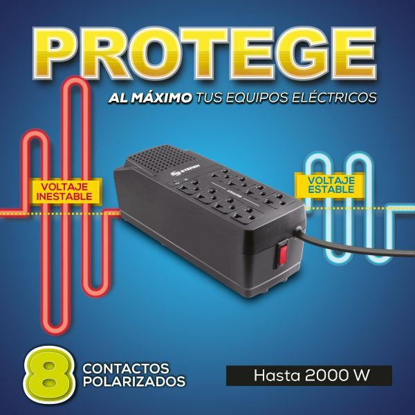 Regulador De Voltaje 2000w 8 Contactos Steren 2050_1