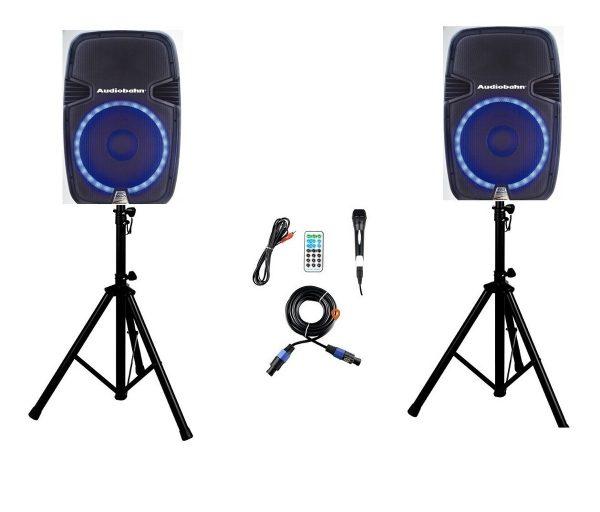 Par De Bafles Bocinas 15 Bluetooth Usb Mp3 Luz Audiobahn_1