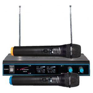 Par De Microfonos Inalambricos Uhf Audiobahn Amu250_0