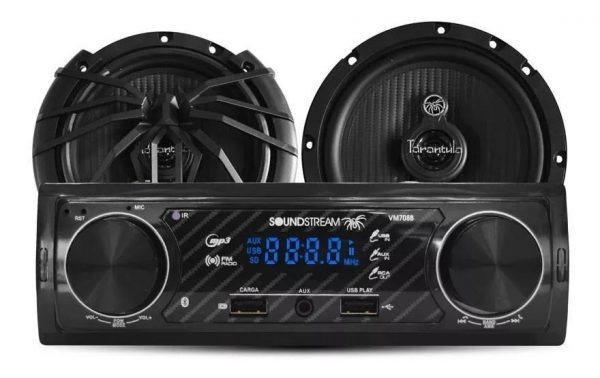 Autoestereo Bluetooth Mp3 Usb Aux Par De Bocinas Soundstream_0