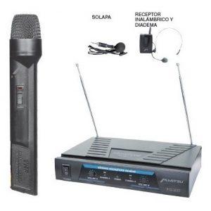 Microfonos Inalambricos De Mano Solapa Y Diadema 50m 3057 _0