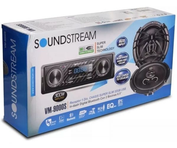 Autoestereo Bluetooth Mp3 Usb Aux Par De Bocinas Soundstream_1