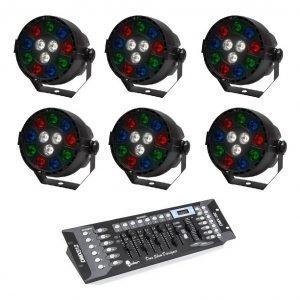 Kit 6 Luz De Leds Cañon Par64 Rgbw + Controlador Dmx 9070_0