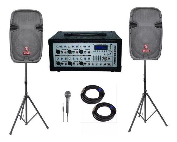 Kit Mezcladora Amplificada 6ch + Bafles Bocina 15 Audiobahn_0