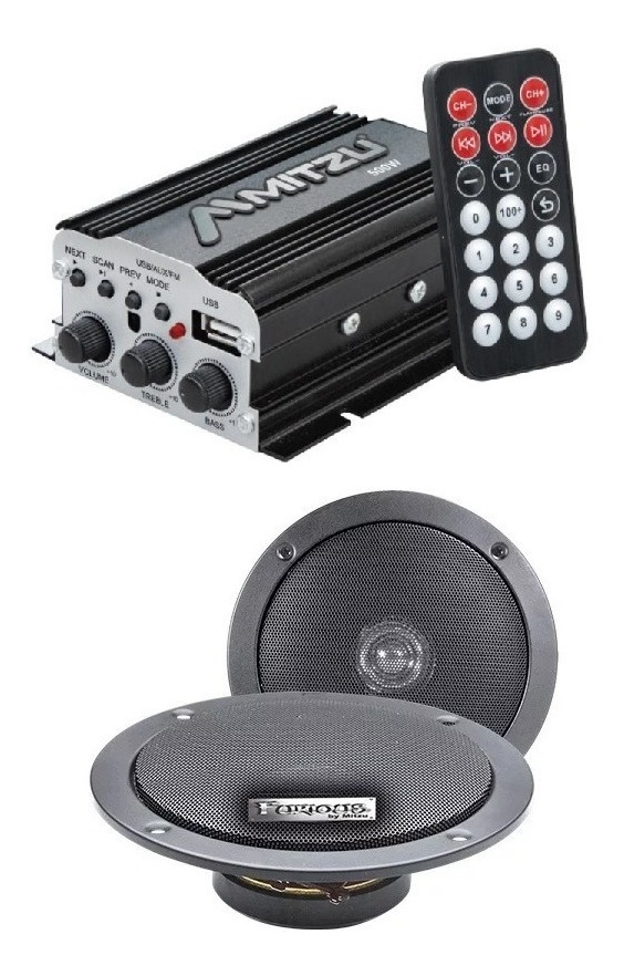 Amplificador Bluetooth Usb Fm Control Auto Moto Bocinas 76bt_0