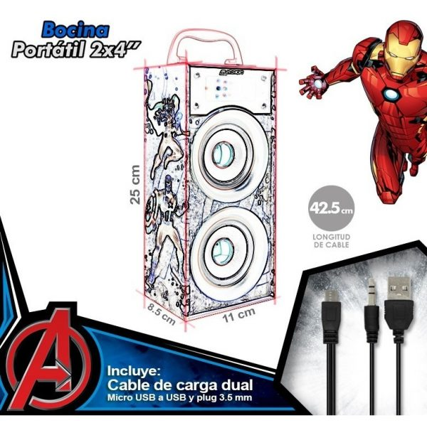 Bocina Recargable Bluetooth Usb Sd Mp3 Radio Fm Luz Avengers_2