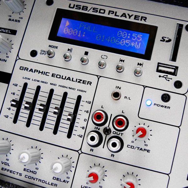 Kit Mezcladora Amplificada 6ch + Bafles Bocina 15 Audiobahn_4