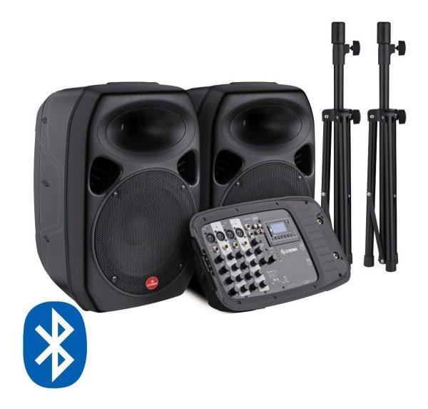 Kit Mezcladora Bluetooth + 2 Bocinas 10 + Tripies Steren 520_5