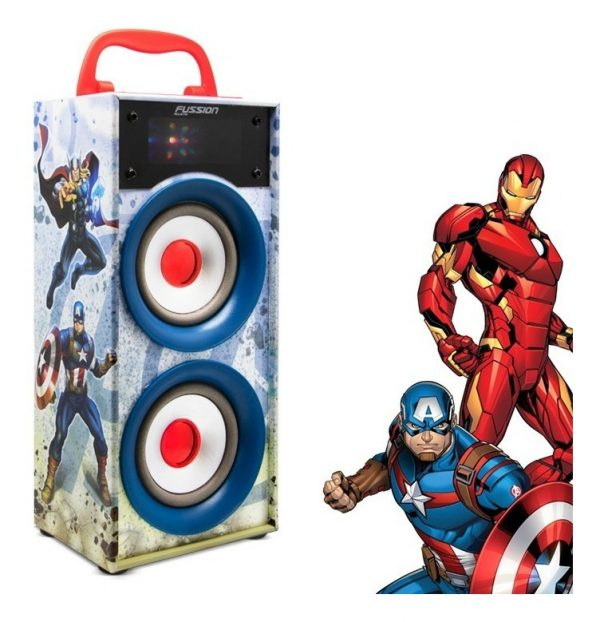 Bocina Recargable Bluetooth Usb Sd Mp3 Radio Fm Luz Avengers_5