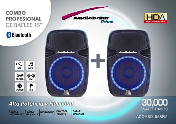 Par De Bafles Bocinas 15 Bluetooth Usb Mp3 Luz Audiobahn_2